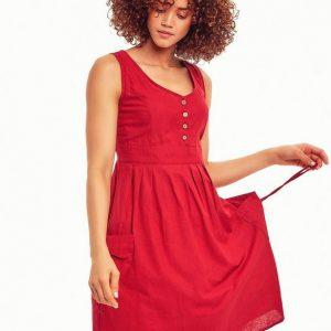 Otantik-Bohem-Kırmızı-Elbise