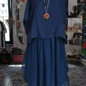 mavi-italyan-keten-elbise